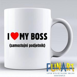 Skodelica Funart I love my Boss