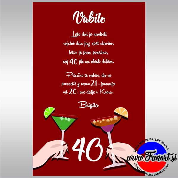 Vabilo 40 rojstni dan